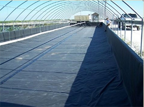 Aquaculture epdm pond liner installation yunker plastics for Blue koi pond liner